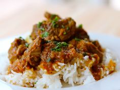 Recipe for a simple Persian Lamb Stew with meat, turmeric, and chili pepper flakes. Slowly cooked, tender stew over basmati rice. Kosher, meat.