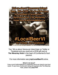 The #LocalBeerVI poster. $100 promotion sponsored by The Waverley Hotel. All about Island brews. FMI: http://j.mp/LocalBeerVI. Please share! Help celebrate #localfood in our region.