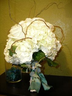 hydrangea and twig bouquet - bridesmaids?