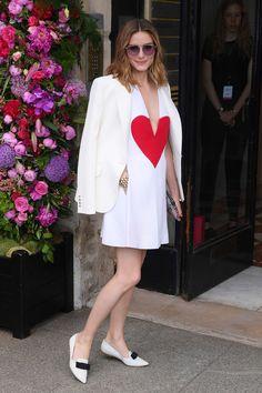 Olivia Palermo. White dress white jacket white flats big heart
