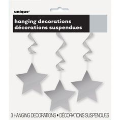 <div>Your party will shine with our Hanging Swirl Silver Star Decorations. Perfect for your grad...