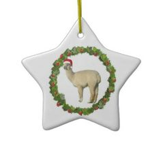 White Alpaca Christmas Wreath Ornaments