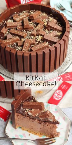 Easy No-Bake Chocolate KitKat Cheesecake with a Biscuit Base, Chocolate Cheesecake filling, Ganache topping and KitKat shell! Easy No-Bake Chocolate KitKat Cheesecake with a Biscuit Base, Chocolate Cheesecake filling, Ganache topping and KitKat shell! Kitkat Torte, Kitkat Chocolate Cake, Chocolate Biscuit Cake, No Bake Chocolate Cheesecake, Cheesecakes, Janes Patisserie, Salty Cake, Tandoori, Food Cakes