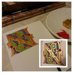 Inicjał N za Margeret Morgan #initial #illumination #calligraphy