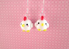 Chicken Kawaii Cute Polymer Clay Earrings by DoodieBear on Etsy, $11.00