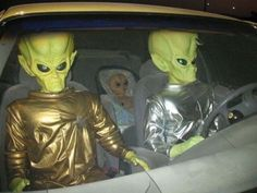 Aliens live among us. These are my neighbors heading to Starbucks...