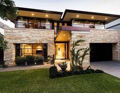 Modern Exterior of Home with Eldorado Stone Cut Coarse Stone