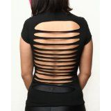 Sexy Cut Up Open Back Shirt - Black S (Apparel)By Folter