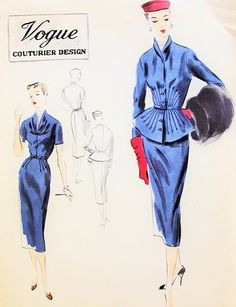 1950 Stunning Slim Dress and Gorgeous Fitted Peplum Jacket Radiating Tucks Vogue Couturier 597 Vintage Sewing Pattern Factory Folded Bust 34