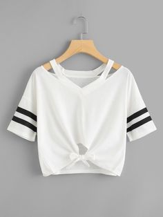 Shop Cut Out Neck Varsity Striped Knot Front Tee online. SHEIN offers Cut Out Neck Varsity Striped Knot Front Tee & more to fit your fashionable needs. Teen Fashion Outfits, Girl Fashion, Girl Outfits, Summer Outfits, Ootd Fashion, T Shirt Fashion, Fashion Black, Fashion Ideas, Fashion Dresses