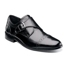 Nunn Bush Newton Men's Monk Strap Cap Toe Dress Shoes, Size: medium (9), Black