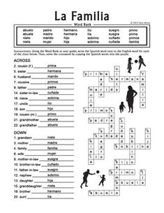 La Familia (Extended Family) Spanish Family Crossword