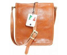 Genuine leather satchel with shoulder belt