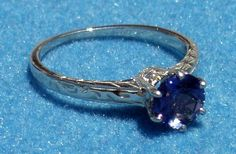 """14 Karat White Gold """"Antique-Styled"""" Solitaire Sapphire Ring. Order Yours, TODAY! A Ben Salomonsky Design (BSJ-85)."""