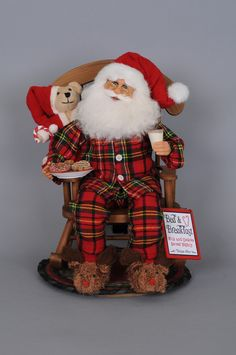 A great addition to any Christmas décor, the charming Milk & Cookies Rocking Chair Santa Figurine boasts fun details like adorable reindeer slippers, a rocking chair and cute plaid PJs. Old Christmas, Christmas Items, Country Christmas, Christmas Stockings, Christmas Crafts, Burlap Crafts, Diy And Crafts, Outdoor Christmas Decorations, Holiday Decor