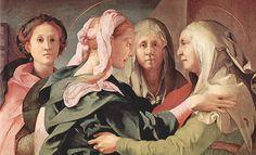 Jacopo Pontormo - dettaglio della Visitazione di Carmignano - La Visitazione è un dipinto a olio su tavola (202x156 cm) di Pontormo, databile al 1528-1530 circa e conservato nella propositura dei Santi Michele e Francesco a Carmignano (PO).