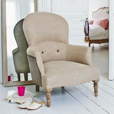 The Archie Armchair in Natural Linen - Armchairs - Shop By Item - Sofas & Upholstery Furniture Upholstery, Bedroom Furniture, Bedroom Chair, Furniture Chairs, Furniture Ideas, Linen Sofa, Linen Bedroom, Master Bedroom, Occasional Chairs