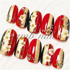 cute♥nail ◆ ◆Today's Handmade Nail ◆下記ワードをFrilで検索♪ 3D和柄ネイル◆赤×ゴールド×黒 1,680yen(送料込) In store now♡ #fril #フリマ #フリル #フリマアプリ #japan #girl #nail #nails #gelnail #art #love #handmade #sale #lady #cool #elegance #trend #red #black #ジェル #ネイル #ジェルネイル #ハンドメイド #ネイルチップ #スワロフスキー #flower #成人式 #着物 #和柄