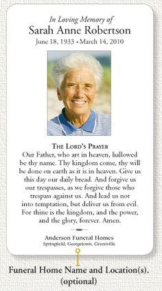 Memorial Prayer Card Business Card Templates Funeral Business - Funeral prayer cards templates