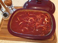Zwiebel-Rinderbraten in Barbecue-Sauce aus dem Ofenmeister oder Zaubermeister von Pampered Chef