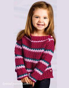 Crochet Patterns Sweaters Little girl crochet sweater pattern free I wonder if I could do this Crochet Girls, Crochet Baby Clothes, Crochet For Kids, Crochet Children, Crochet Jumper, Knit Crochet, Crochet Winter, Crochet Sweaters, Crotchet