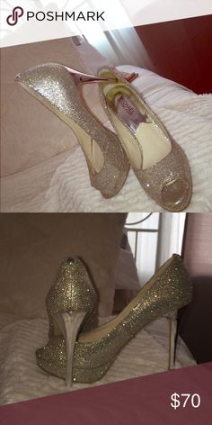 Authentic Michael Kors High Heels Worn once, silver Michael Kors party heels MICHAEL Michael Kors Shoes Heels