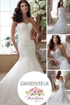 Mia Grace Bridal is in love with this stunning fit and flare gown by David Tutera. The gown features a classic sweetheart neckline with a small sheer deep v-cut. Accents of crystal beading throughout the beautiful lace completes the look of this unique gown. This picture shows an option for a colored gown. #BridalGowns #DavidTutera #StraplessGown #LaceGown #FitandFlare #ColorGowns