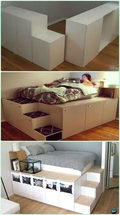 DIY IKEA Kitchen Cabinet Platform Bed Instructions - DIY Space Savvy Bed Frame Design Concepts Instructions bathroom decor bedroom decor decoration for home Diy Ikea Hacks, Space Saving Beds, Space Saving Furniture Ikea, Furniture Cleaning, Furniture Repair, Furniture Removal, Bed Frame Design, Ikea Kitchen Cabinets, Tv Cabinets