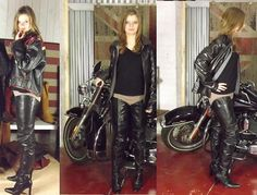 Baby Sandy - Lucky Strike Leather Perfecto Jacket, Prada Crotch High Boots, Kiabi Sweater, Pimkie Beige Skinny Leggings Pants - Crotch boots for a Harley Davidson biker girl Thigh High Socks, Thigh Highs, Knee High Boots, Over The Knee Boots, Long Boots, Hot Pants, Leggings Are Not Pants, Crotch Boots, Satin Blouses