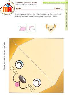 Imprimir y doblar siguiendo las indicaciones de los gráficos para formar un perro. Actividades de aprestamiento para niños de 2 a 3 años.