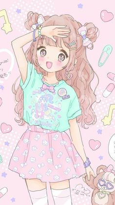 Anime, fashion, and sweet lolita image anime style, cute art, anime kawaii Kawaii Anime Girl, Loli Kawaii, Kawaii Chibi, Cute Kawaii Girl, Anime Girls, Kawaii Drawings, Cartoon Drawings, Cute Drawings, Cartoon Illustrations