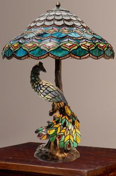 Tiffany Style Peacocku0027s Hallow Double Lit Stained Glass Table Lamp