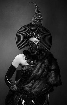 Model- Quinn  Photographer- Michelle Aristocrat  Hair- Irina Lavrega Hairstylist  Makeup- Delia Lupan, Makeup & Hair  Stylist- Joanna Plisko  Jewelery- Karen McFarlane  Headpiece- Caley Johnson (Miss G Designs)  Latex Gloves- House of Etiquette Latex