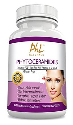 Plant Derived Gluten Free Rice Phytoceramides  All Natural Vegan Capsules 30  Best Fine Line and Wrinkle Reducer  AntiAging Formula  Includes CeramidePCD  Vitamins C A D  E ** You can find out more details at the link of the image.