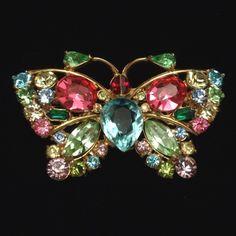 Butterfly Pin Vintage Multi Colred Pastel Rhinestones Brooch Weiss | eBay