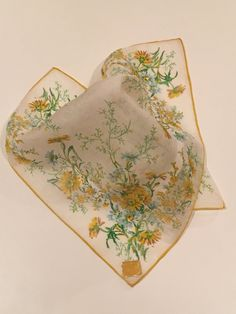 Vintage Yellow Floral Handkerchief White by CobbledStreets on Etsy