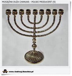 Duży żydowski świecznik Chanuka. Wykonany w mosiądzu metodą rękodzieła Handmade Poland