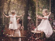 This would make a very cute photo shot of the bride, flower girl and the one on the right side with the flower petals blown around. Like the cranberry color flowers on the swing too.