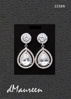 225ER Rhodium white gold CZ Bridal earrings.  by dMaureenVastine