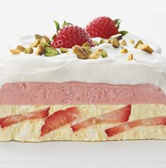 A semifreddo is a semi-frozen dessert - in this case, a semi-frozen custard with layers of cream on top. No ice cream maker needed!