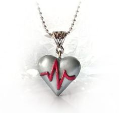 Items similar to ECG heart pendant, heart attack / heart disease awareness necklace, get well gift, polymer clay heart necklace on Etsy Cute Necklace, Pendant Necklace, Bead Necklaces, Biscuit, Get Well Gifts, Heart Attack, Heart Disease, Making Ideas, Polymer Clay