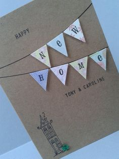 Happy New Home Card Personalised Housewarming Card by GurdGifts New Home Cards, House Of Cards, New Home Gifts, Card Making Inspiration, Making Ideas, Scrapbook Cards, Scrapbooking, Happy New Home, Card Drawing