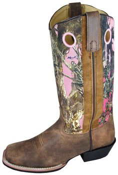 Smoky Mountain Boots Womens Tupelo Brown/Pink Distress Leather Camo