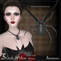 Second Life Marketplace - Alienbear's Halloween 2011 gift (Black Widow necklace) copy only