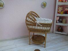 Dollhouse, Miniature Wicker baby cradle, crib, baby Bed, 1:12 scale. Miniature Bed, Dollhouse Bed.
