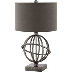 Bring a pop of style to your master suite or living room with this armillary-inspired metal table lamp, showcasing a drum shade and marbled finish.