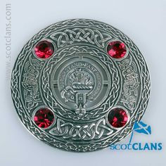 Grant Clan Crest Plaid Brooch. Free Worldwide Shipping Available