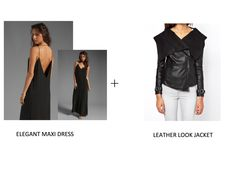Maxi in Black+Waterfall Front Leather Look Jacket
