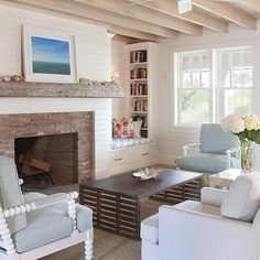 Fireplace with Brick Surround and Chunky Mantle, Cottage, Living Room, Dearborn Builders