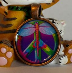 Lisa Frank Dragonfly Peace Sign Metal Round Pendant by GreyGyrl, $8.00